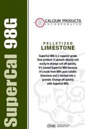Calcium Products, SuperCal 98G, soil treatment, pelletized limestone