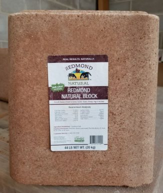 Redmond Natural Block, Redmond Minerals, Natural Salt block, livestock feed and supplement, unrefined trace minerals