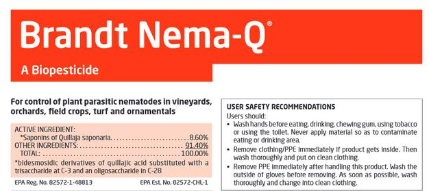 Brandt Nema-Q, plant protection, Saponins of Quillaja Saponaria